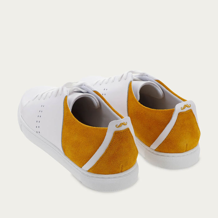 White Leather and Mustard Suede René   Bombinate