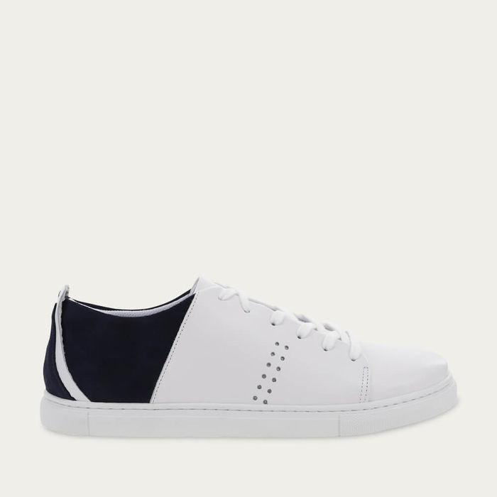 White Leather and Marine Suede René | Bombinate