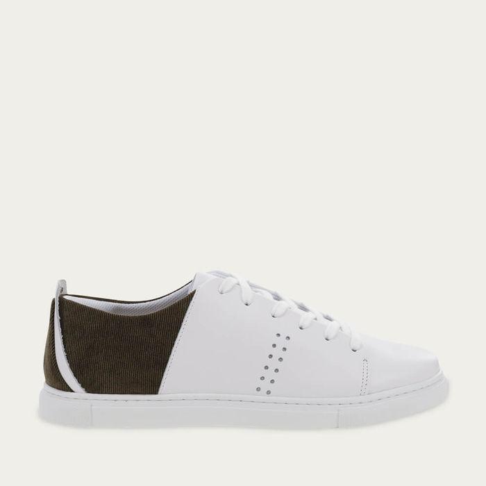 White Leather Khaki Velvet René | Bombinate
