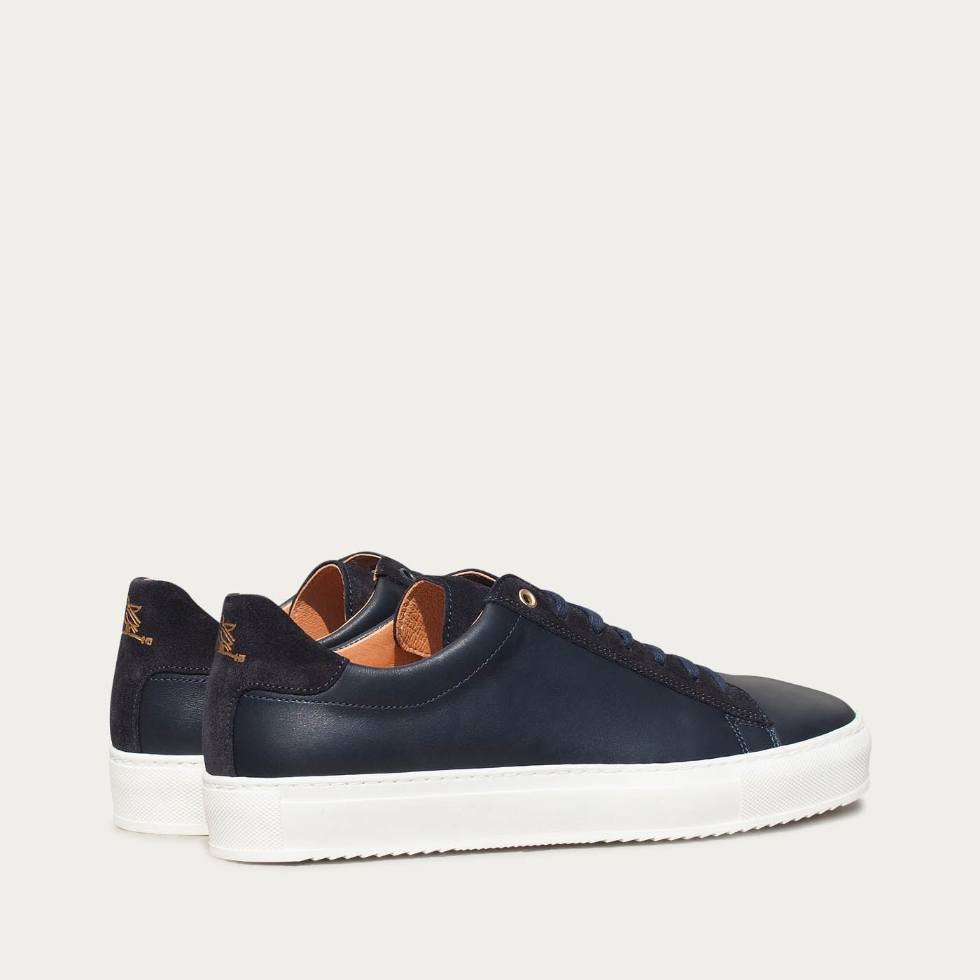 Midnight Blue Leather Taranta Sneakers    | Bombinate