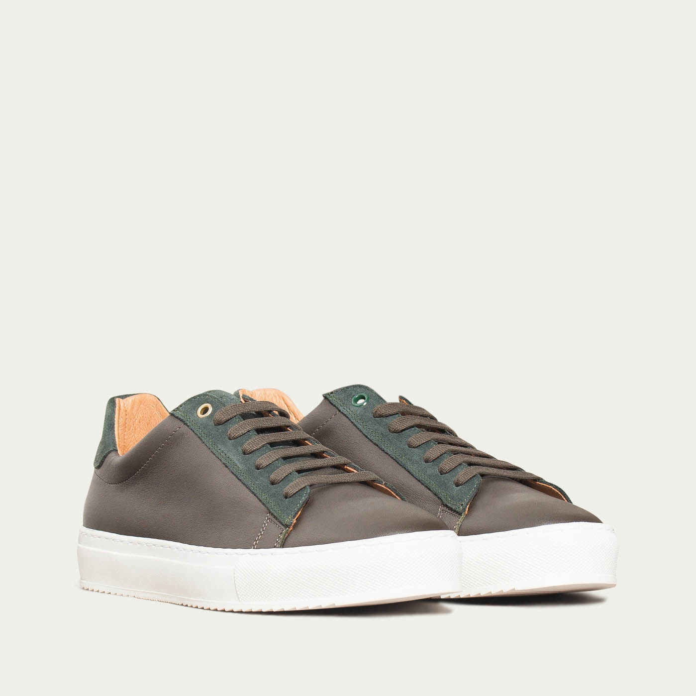 Army Green Leather Taranta Sneakers   | Bombinate