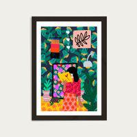 Reading all Day Art Print Black Frame | Bombinate