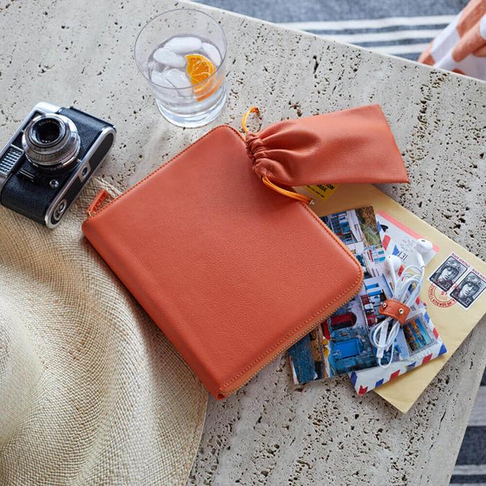 Amber Orange & Dusty Aqua The World Class Leather Tech Set | Bombinate