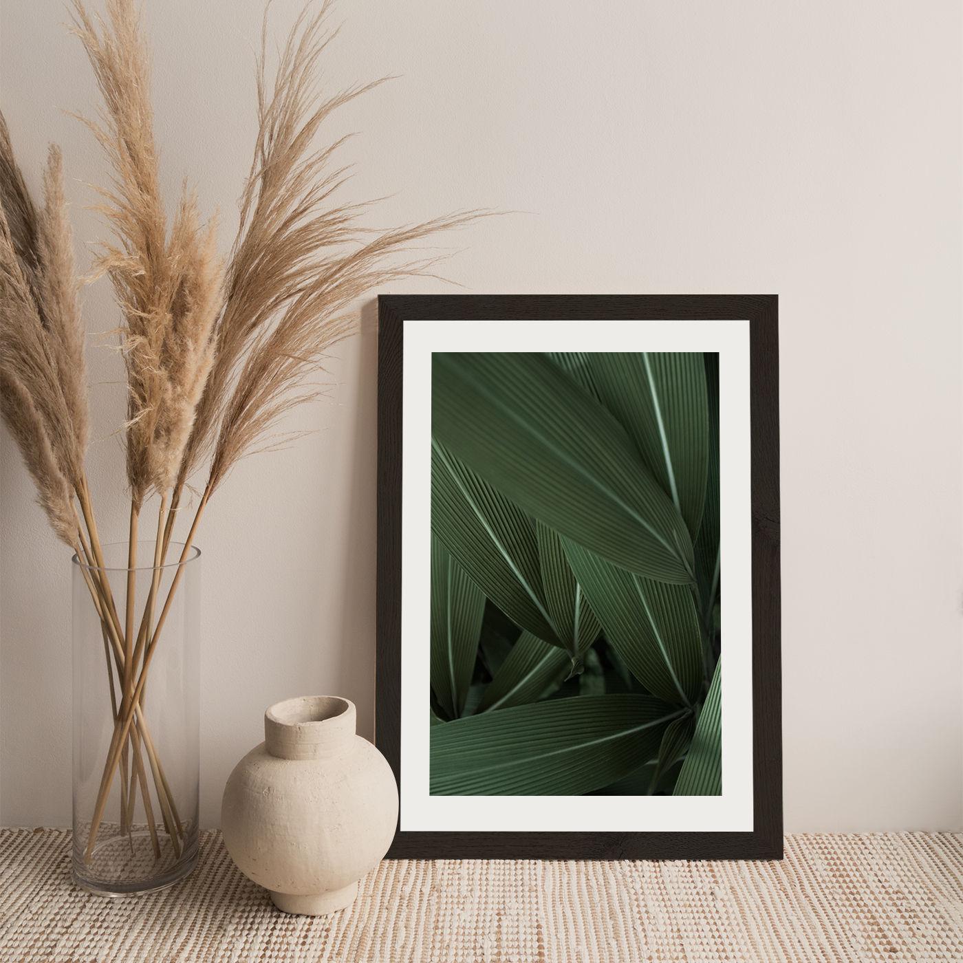 Minimal Plants Art Print Black Frame | Bombinate