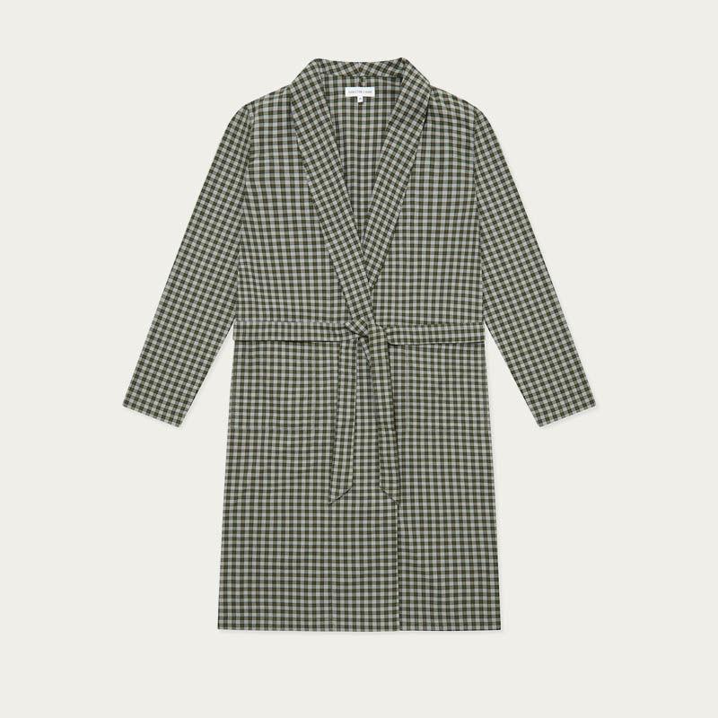 Olive Check Woven Robe  | Bombinate