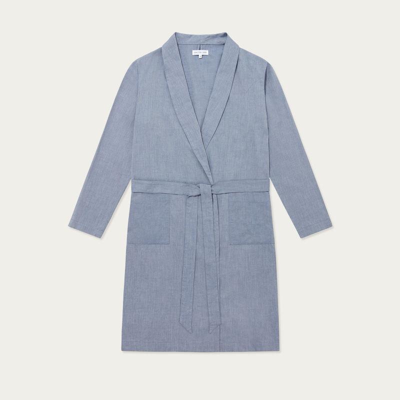 Chambray Blue Cotton Cashmere Robe  | Bombinate