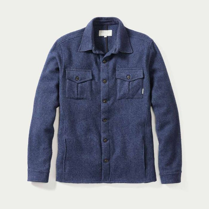 Navy Hilton Wool Over-Shirt | Bombinate