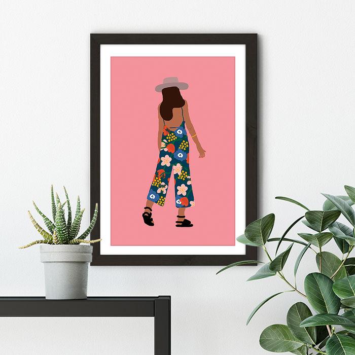 Summer Girl Art Print Black Frame   Bombinate