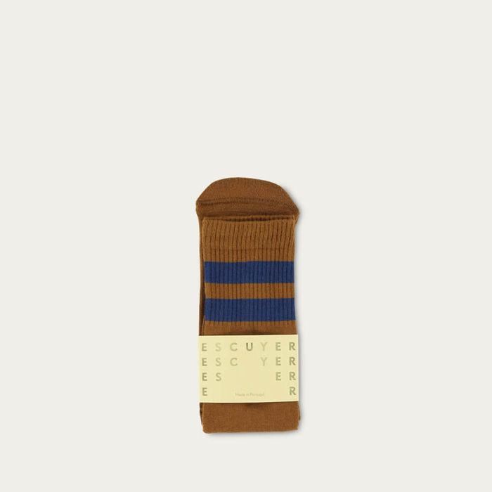 Caramel / Blue Unisex Tube Socks | Bombinate