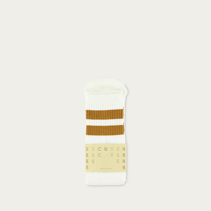 Off White / Golden Brown Unisex Tube Socks | Bombinate