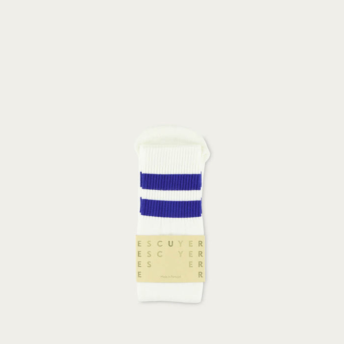 Off White / Deep Ultramarine Unisex Tube Socks | Bombinate