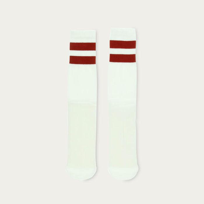Off White / Red Ochre Unisex Tube Socks   Bombinate