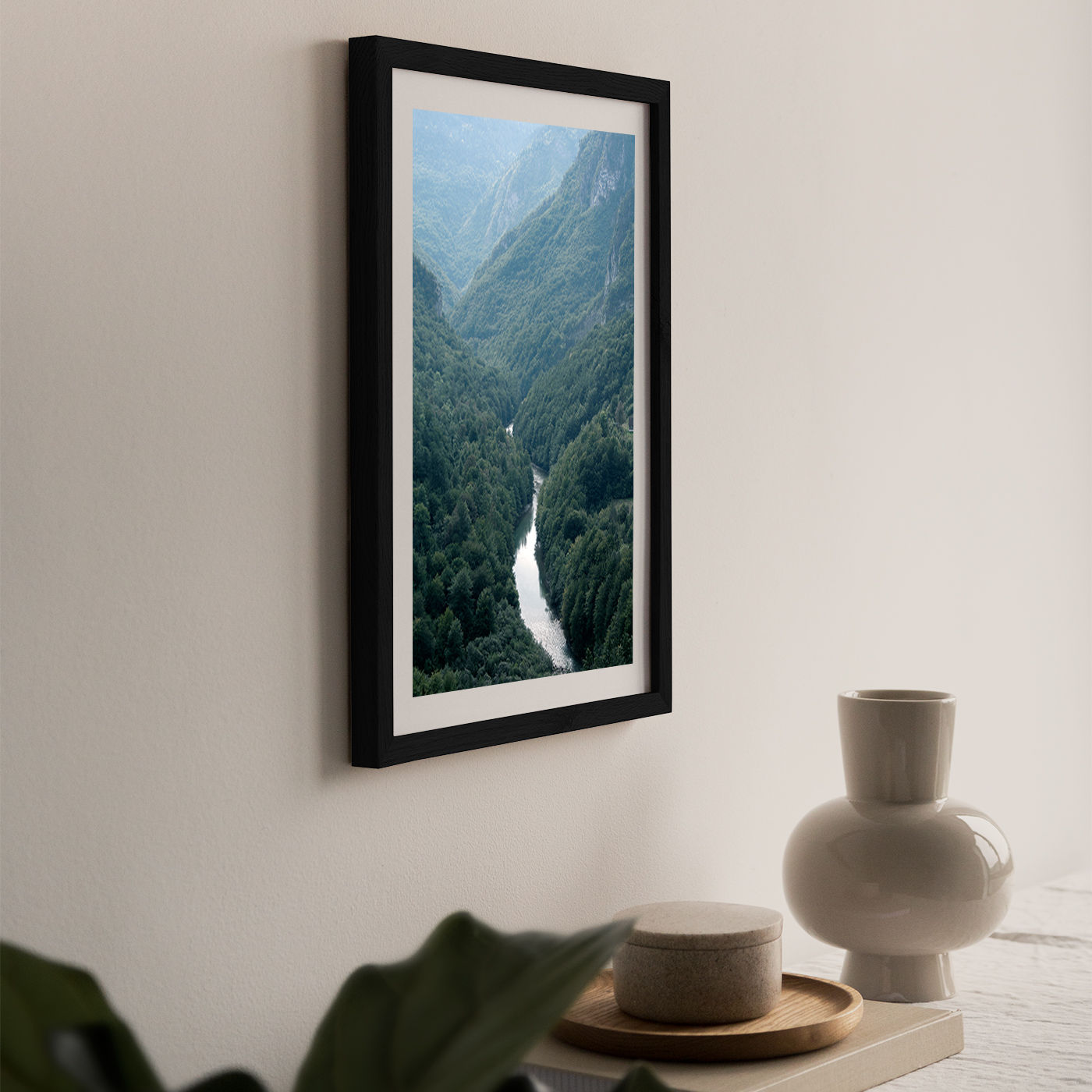The River through The Forest Art Print Black Frame | Bombinate
