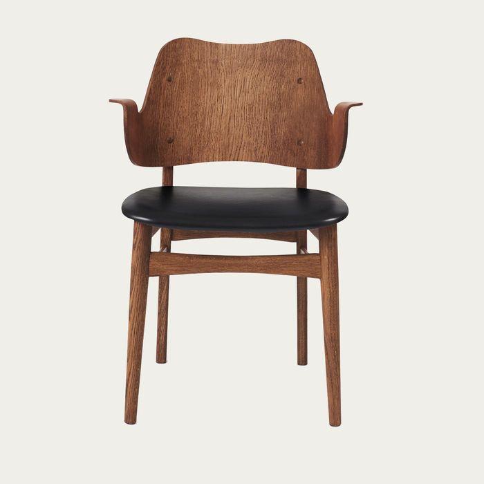 Teak/Black Prescott Half Gesture Dining Chair | Bombinate