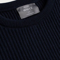 Navy Cashmere Ribbed Crew Neck  | Bombinate