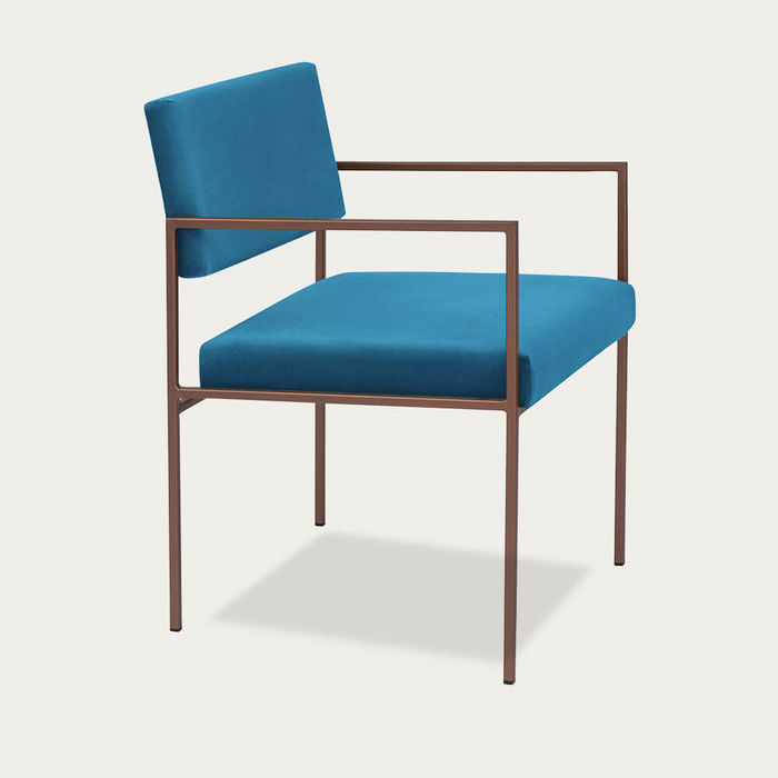 Sternzeit | Ocean Blue Cube Armchair Copper | Bombinate
