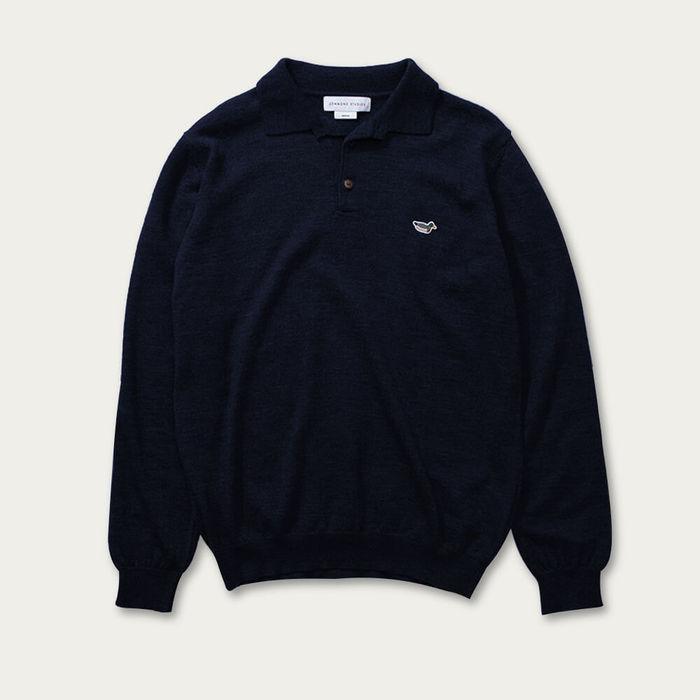 Navy Cotton Knit Polo Sweater   Bombinate