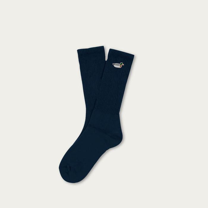 Navy Duck Embroidery Cotton Socks | Bombinate