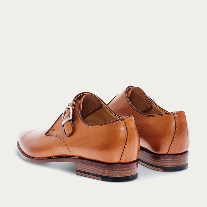 Cognac Capuchin Patina Calf Leather Shoes | Bombinate