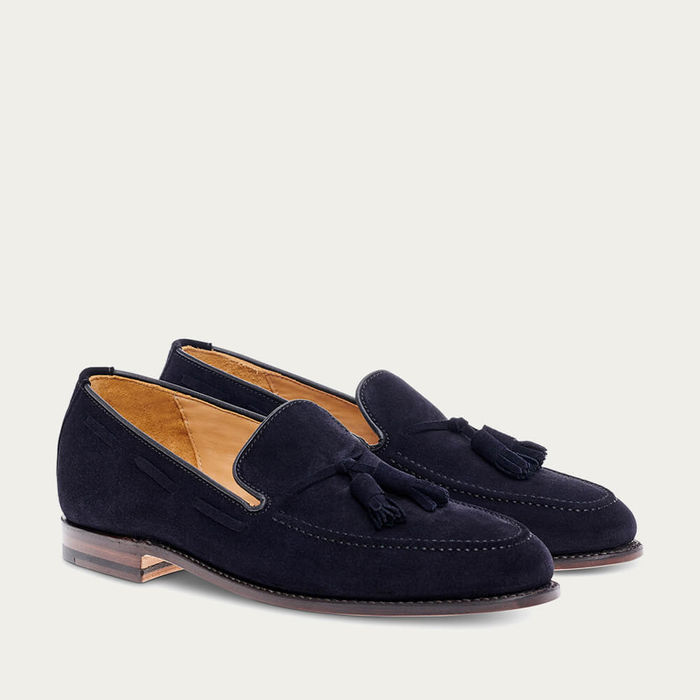 Navy Tassel  Suede Leather Loafer | Bombinate