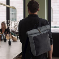 Grey Leather Front Backpack  | Bombinate