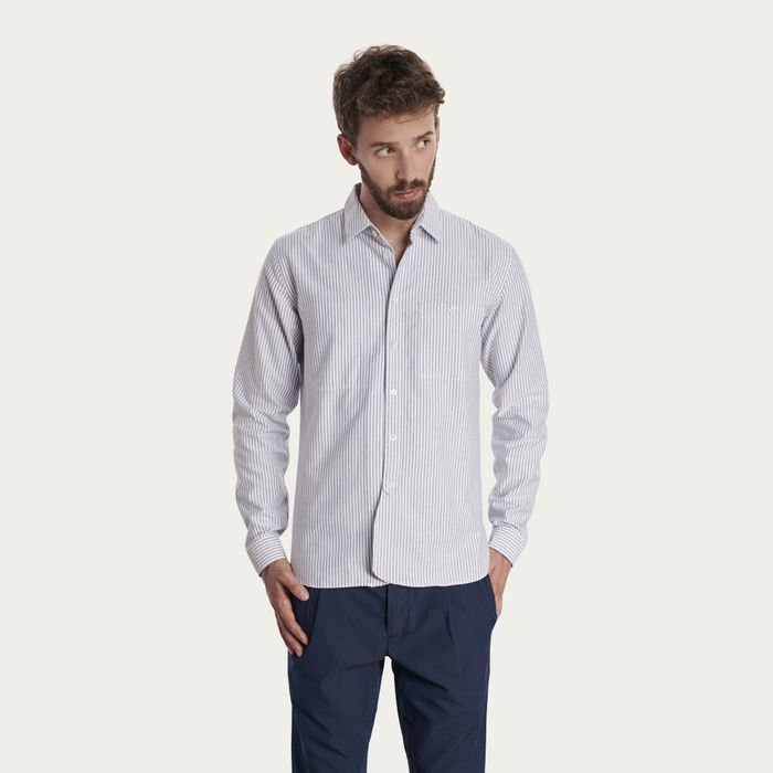 White/Blue Pin Stripes Farmer Shirt  | Bombinate
