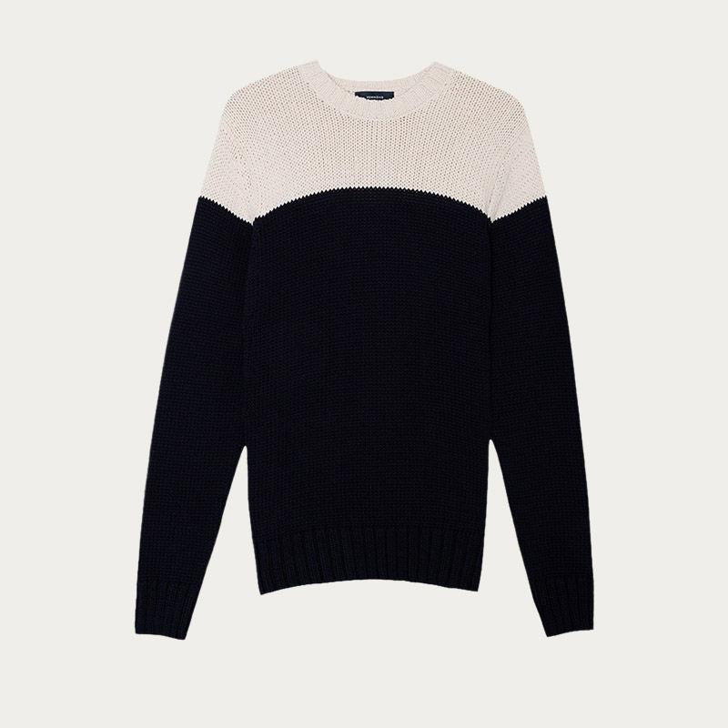 Navy Cotton Colour Block Knit  | Bombinate