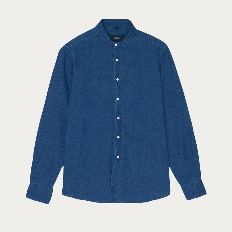 Plain Indigo Round Collar Shirt  | Bombinate