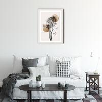 Sun and Moon Hiding Gold Art Print White Frame   Bombinate