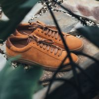 Camel Suede Low Split Sneakers   4