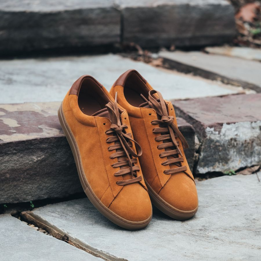 Camel Suede Low Split Sneakers   5