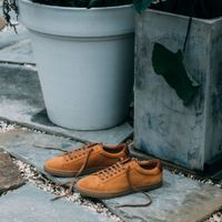 Camel Suede Low Split Sneakers   6