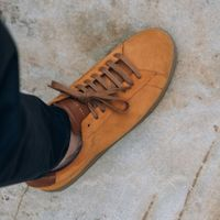 Camel Suede Low Split Sneakers   8