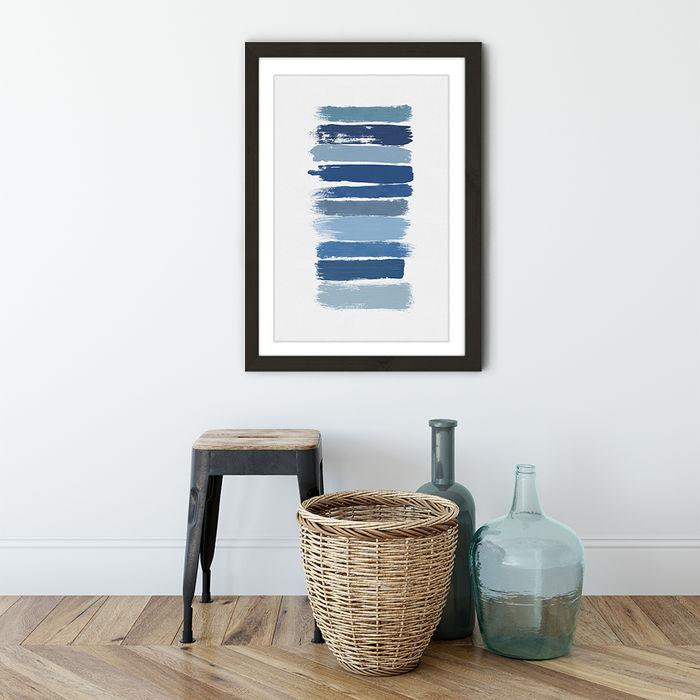 Ombre Blue Art Print Black Frame | Bombinate