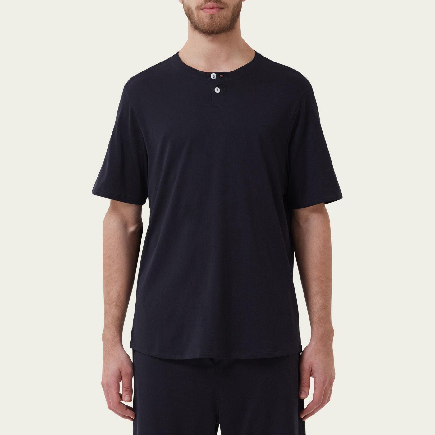 Navy Short Sleeve Jersey Henley Tee-shirt 1