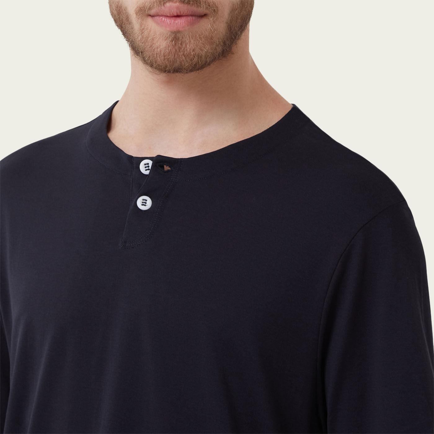 Navy Short Sleeve Jersey Henley Tee-shirt 3