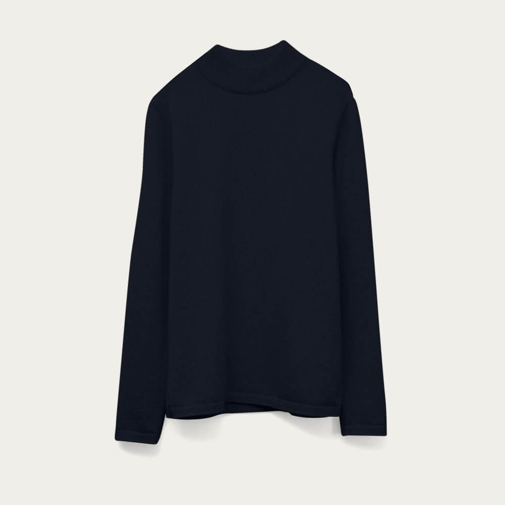 Blue Navy The High-Neck Cashmere | Bombinate