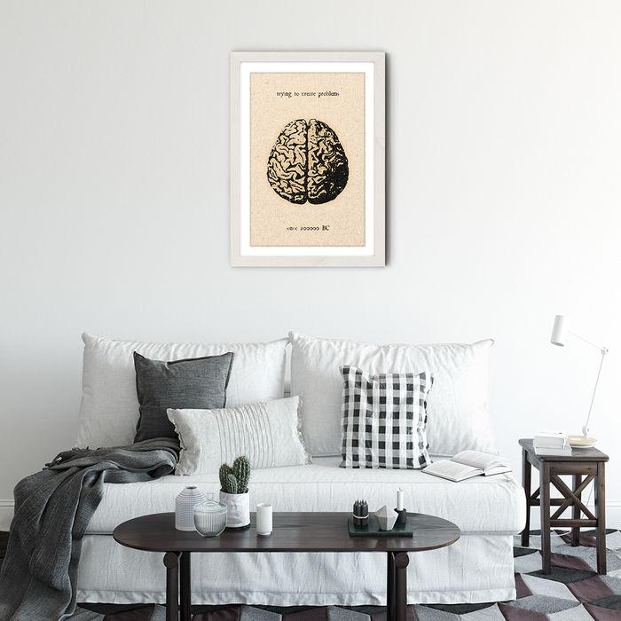 The Brain Art Print White Frame | Bombinate