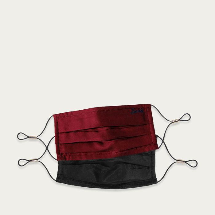 Burgundy and Black Face Masks Set | Bombinate