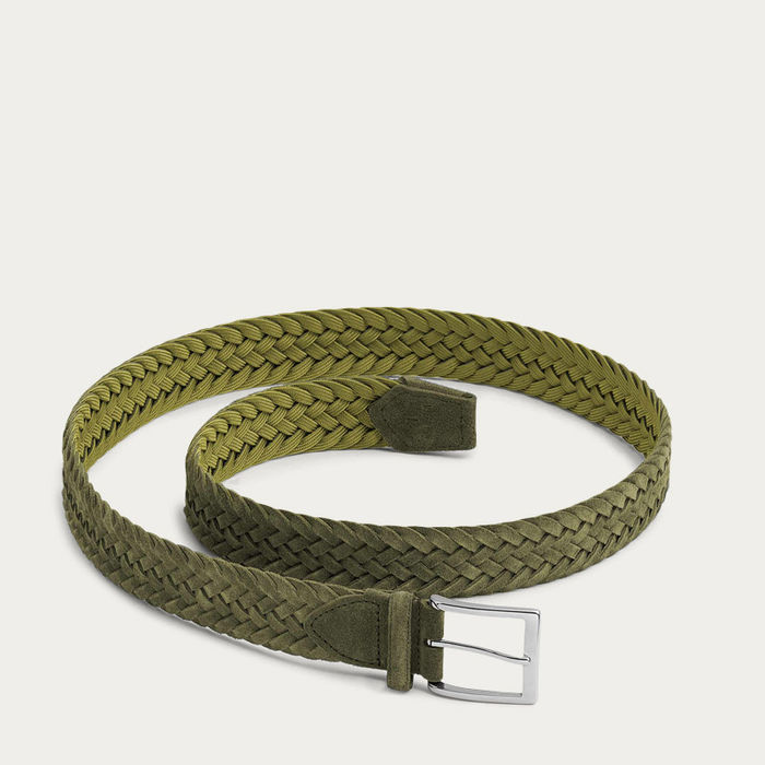 Green Vincenzo Braided Suede Belt | Bombinate
