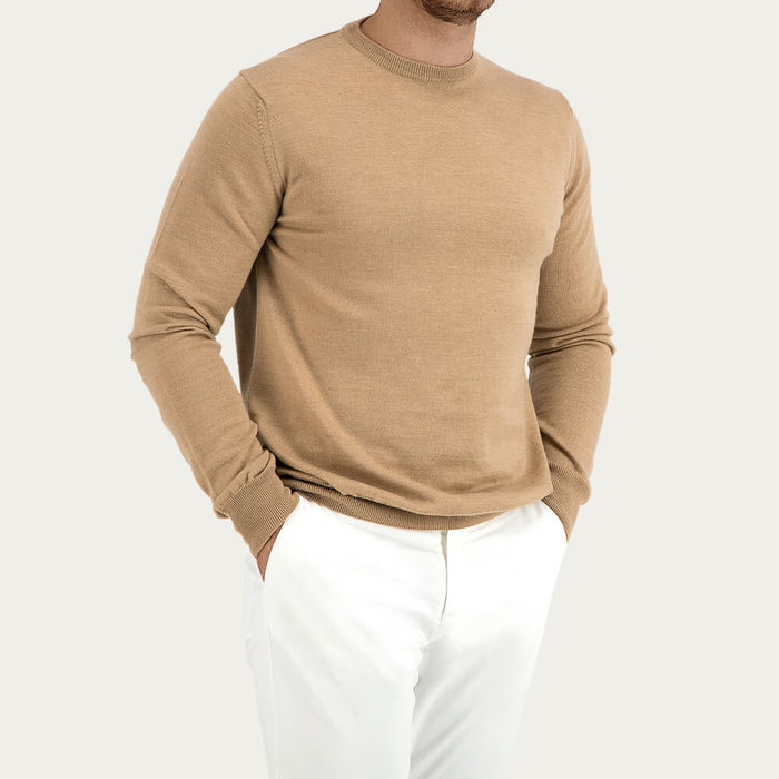 Beige Extrafine Merino Crew Neck Sweater | Bombinate