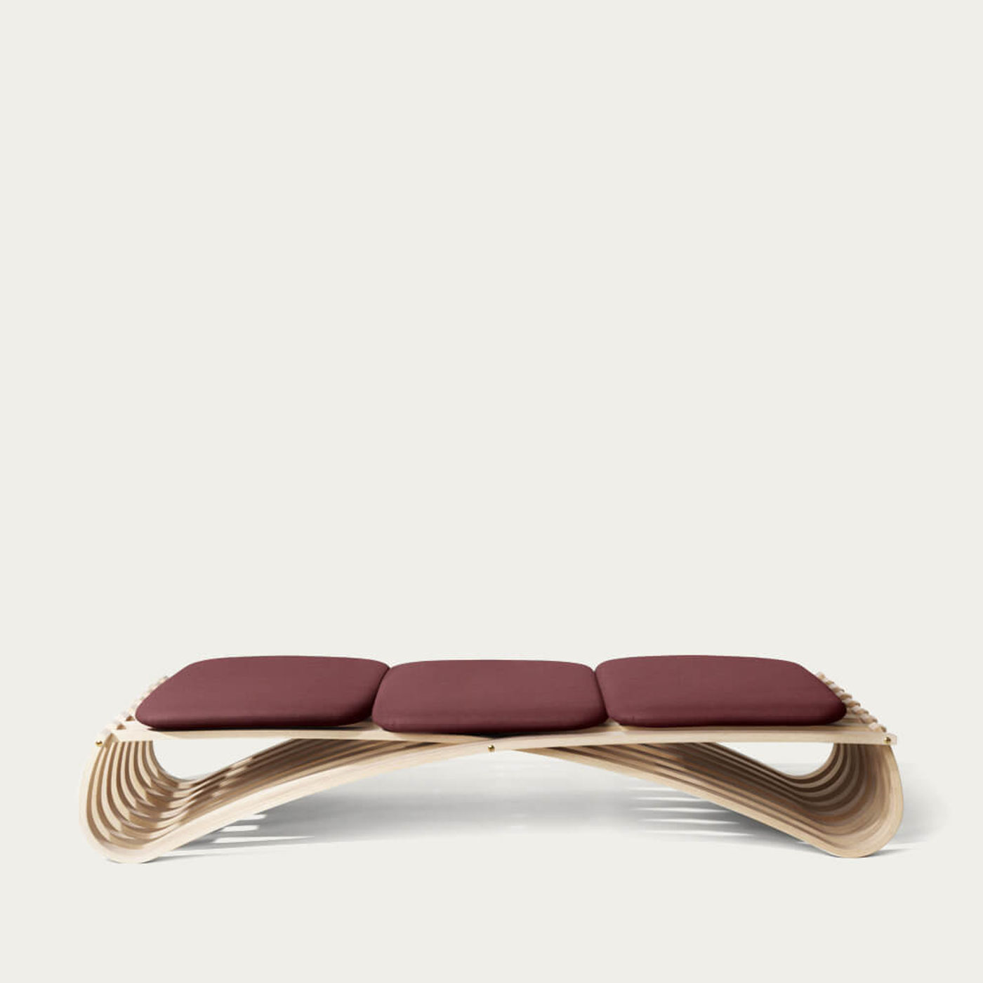 Dark Red/Black Textile Beech Jundo Daybed with 3 Cushion | Bombinate