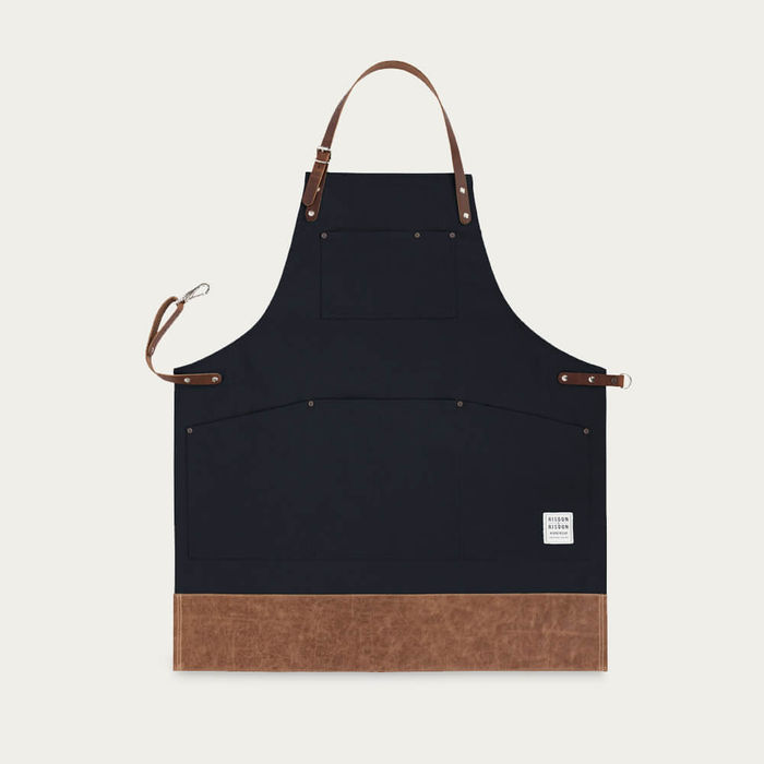 Black Leather Trimmed Apron | Bombinate