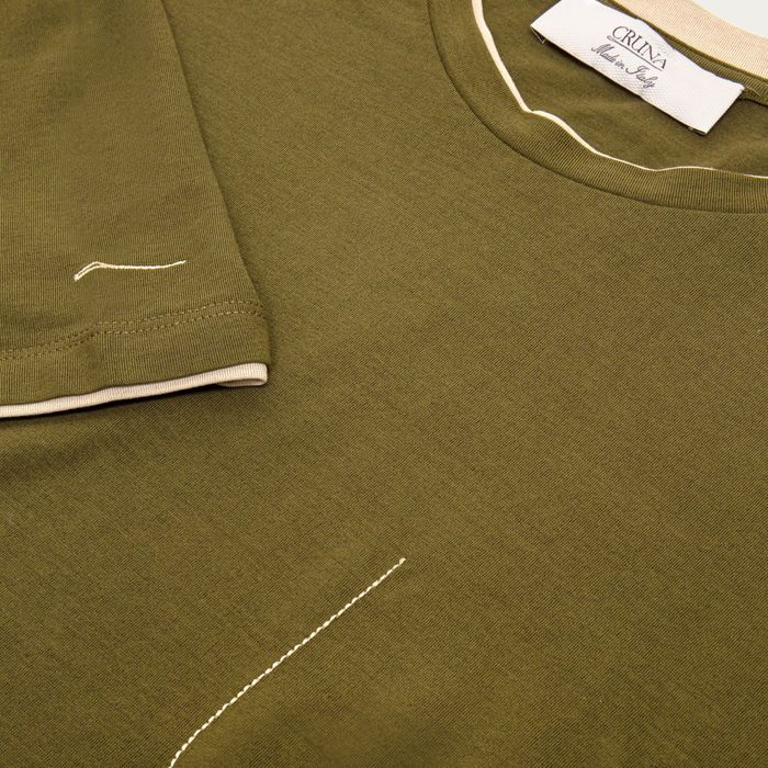 Green Cotton Crepe Jersey Nizza T-Shirt | Bombinate