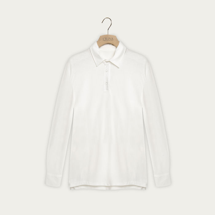 White Cotton Crepe Jersey Cannes Polo | Bombinate