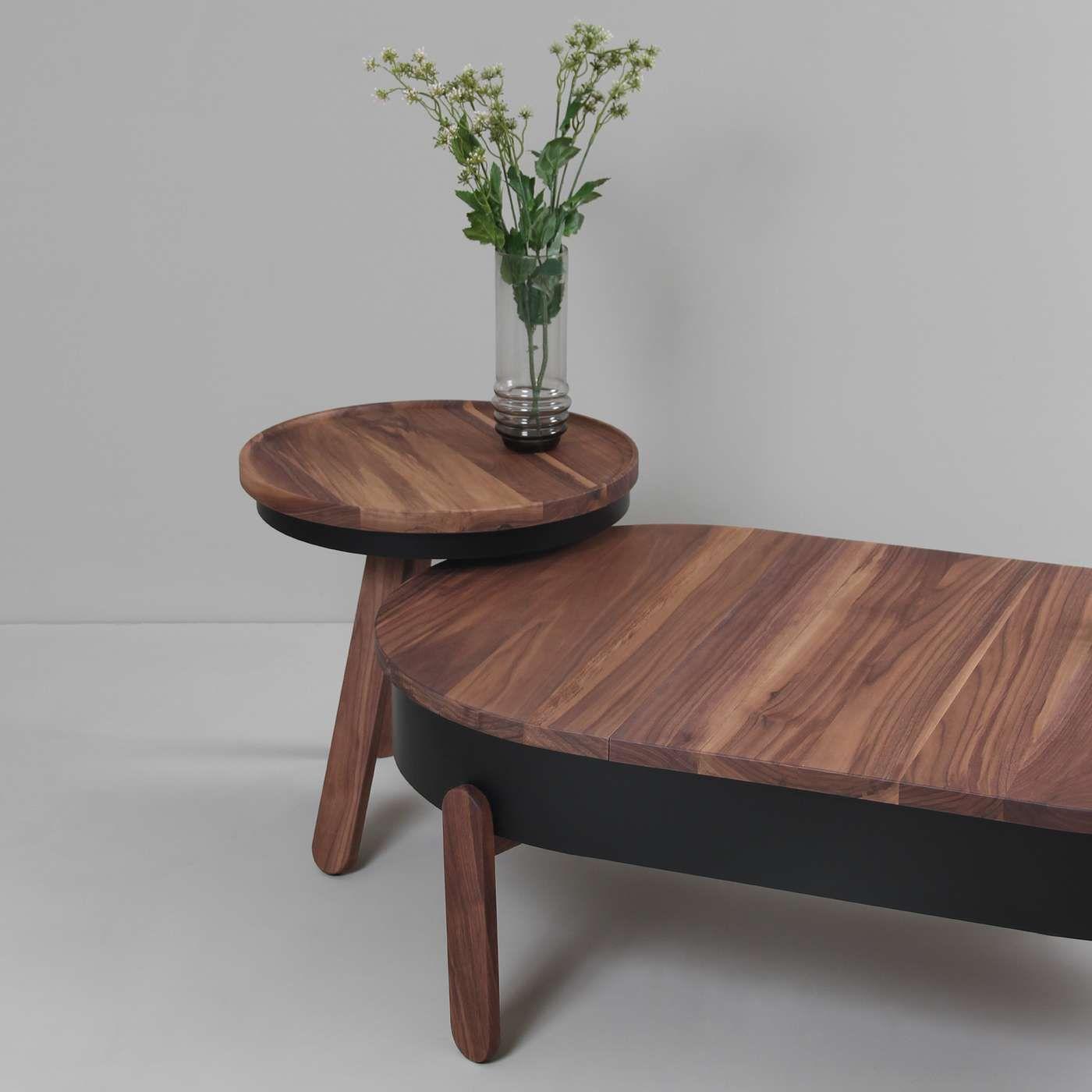 Walnut/Black Large Batea Coffee Table  | Bombinate