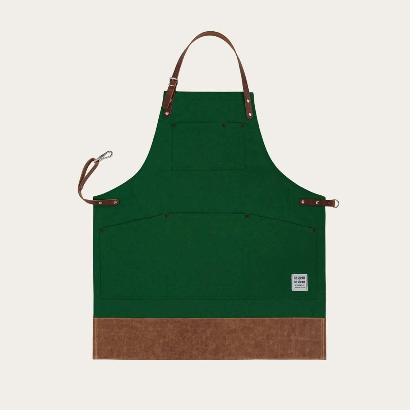 Green Leather Trimmed Apron   | Bombinate