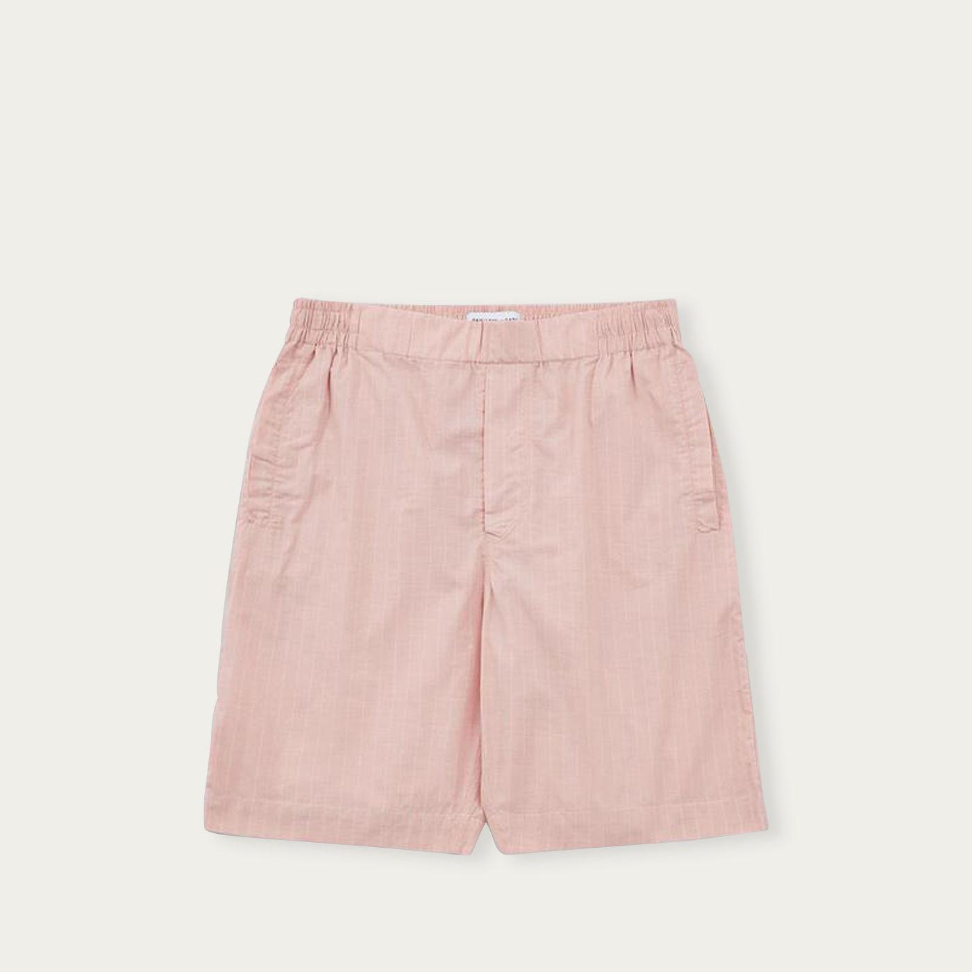 Pink White Pinstripe Drawstring Shorts | Bombinate