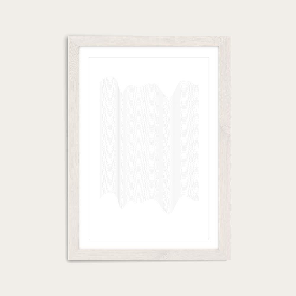 White Frame Waves Art Print   Bombinate
