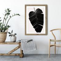 Black Leaf No.6 Art Print Oak Frame | Bombinate